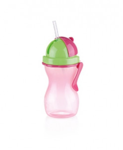 Детская бутылочка с трубочкой BAMBINI 300 мл, розовый