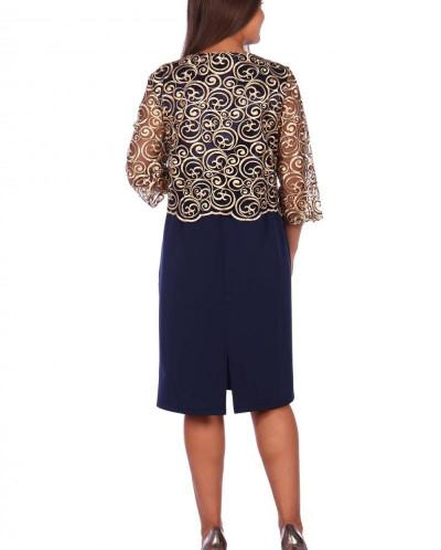 Платье Хайди (3269). Расцветка: синее с золотом
