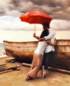 Из жизни красного зонтика - алмазная мозаика