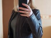 Укороченная кожаная куртка пиджак 44