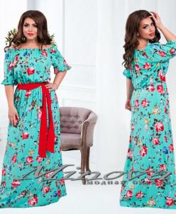 Артикул:Платье №1085-60-ментол+красный