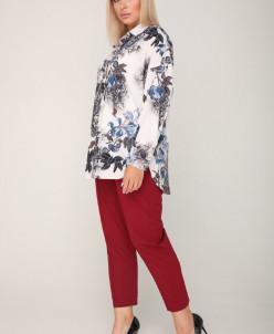 Блуза 227/1 синий/цветы