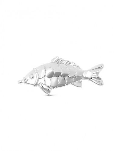 Сувенир из серебра родированный - Денежный карп 1,7 см