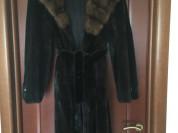Шуба норка соболь Luini Греция 46 М с капюшоном баргузинский мех блек лама длина 116 см миди натуральная