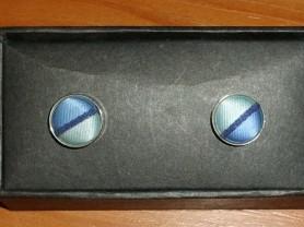 Запонки круглые голубые металл диаметр 1.5 см СССР