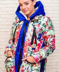 Женская куртка стильного кроя, принт цветы