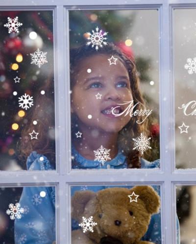Наклейки на стекло «Снежинки и Звездочки»