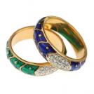 Набор из 2-х колец с зеленой и синей эмалью
