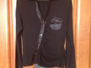 Черная блуза с атласной отделкой Польша р. 50