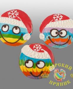 110-12 Пряник  Смайлик новогодний 120 мм Новинка!
