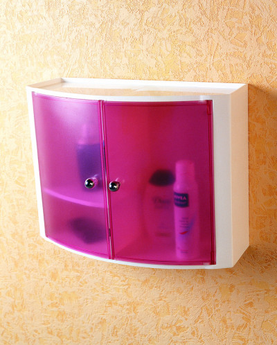 Серия 084 Настенный шкаф с дверцами (цвет: прозрачно-розовый