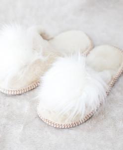 Тапочки детские Белые с помпоном. 100% овчина