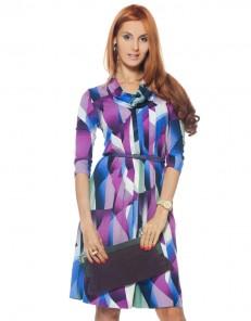 Платье трикотажное сиренево-серое