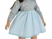 Кукла Ширли, в серо-белом платье в горох, 62 см