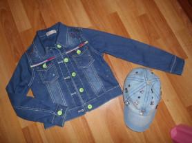 colabear джинсовка + кепка р.116-122
