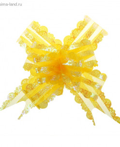 "Бант-бабочка №3 ""Ажур"", цвет жёлтый"