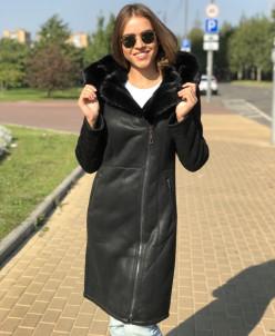 Женская зимняя дубленка из эко-кожи 9110 черная