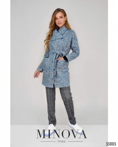 Пальто №496-Голубой