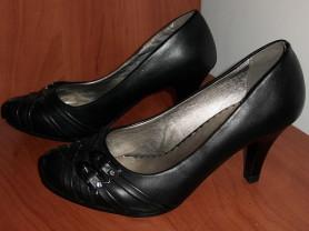 Туфли с пряжками черные новые кожзам р.36 ст 24