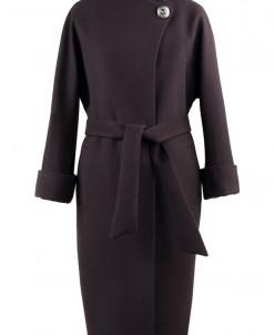 01-5617 Пальто женское демисезонное (пояс) Кашемир Темно-кор