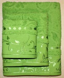 """Набор махровых полотенец 100% хлопок """"Подарочный""""-зелен. 3 ш"""