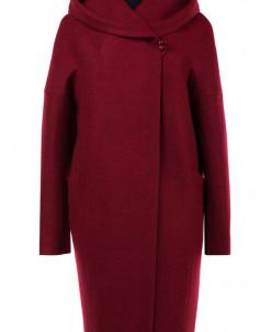 01-6264 Пальто женское демисезонное Валяная шерсть Красный м