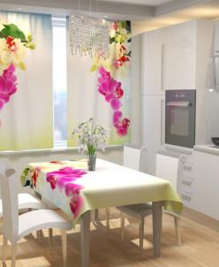 Фотошторы для кухни Веточка орхидеи Габардин