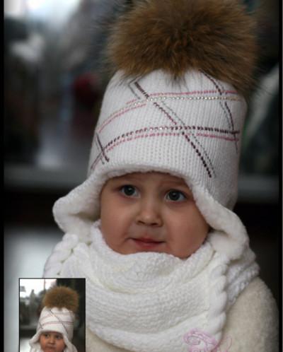 "Вязаный комплект (шапка+шарф) ""Зимушка""с помпоном из натурал"
