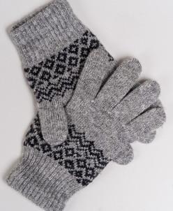 """Перчатки из шерсти """"Як"""" серый с узором, Монголия"""