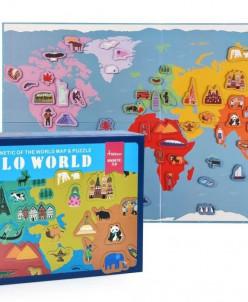 """Магнитная карта мира """"Привет мир"""""""