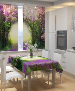 Фотошторы для кухни Сиреневый тоннель Габардин