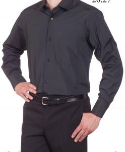 Сорочка из хлопка приталенная, полоса, длинный рукав