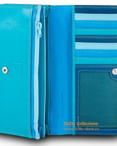 Кошелек кожаный DuDu серии Canarie | голубой пэчворк