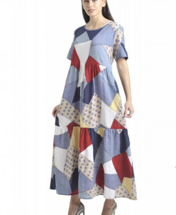 Платье Афелия (3484). Расцветка: пэчворк