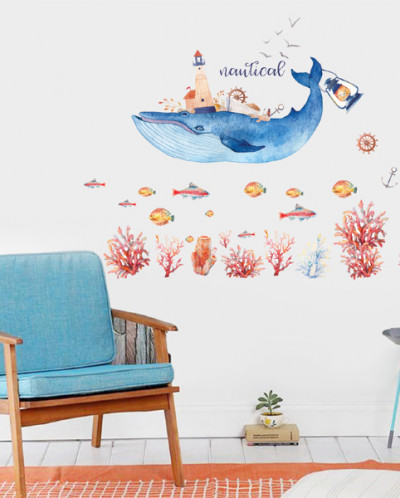 Наклейка многоразовая интерьерная «Синий Кит»