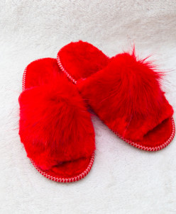 Тапочки женские открытые Красные. 100% овчина