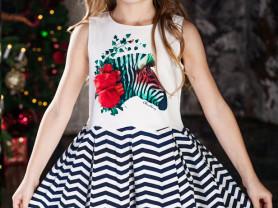 Платье Зебра 3-14 лет