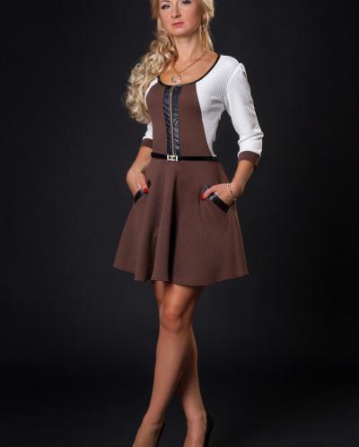 Платье № 880-коричневый