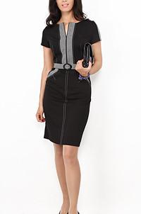 Платье черное с серой отделкой