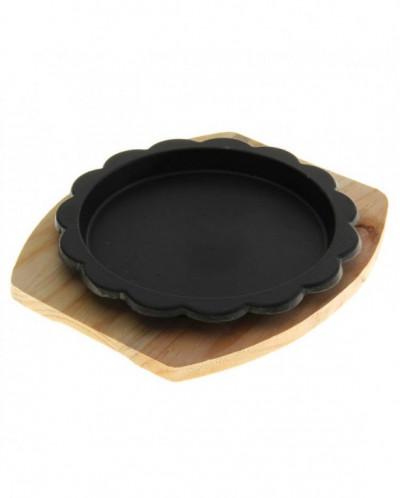 """Сковорода на деревянной подставке d=22 см """"Ромашка"""""""