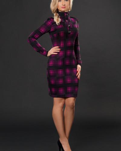 Платье № 882-розовая клетка