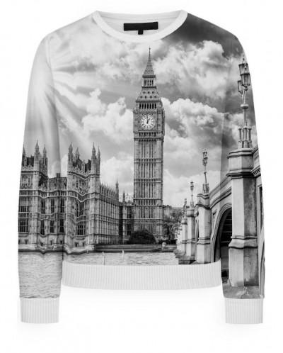 Свитшот женский Лондон черно-белый