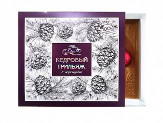 Кедровый грильяж в шоколадной глазури с черемухой 120 г