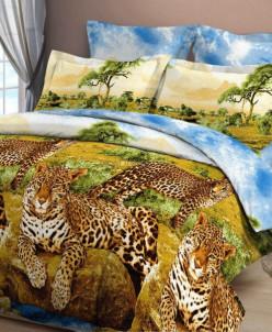 Бязь 3Д - Леопарды у воды