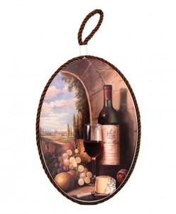 "Подставка п/горячее 19*13*1 см ""Виноград и вино"" овал"