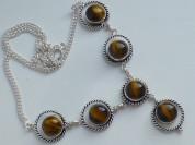 ожерелье серебро 925* с тигровым глазом