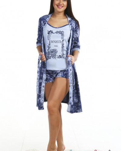 Комплект женский Бонжур (шорты с топом и халат)