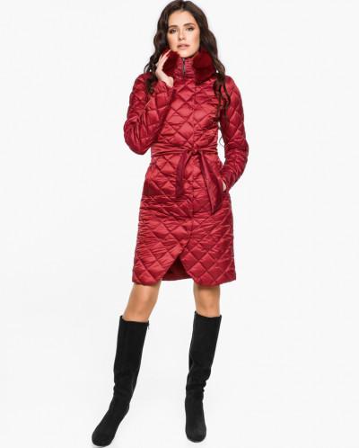 Рубиновый воздуховик стильный женский на зиму модель 31030