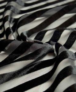 Бархатные полоски на сетке, цвет черный принц