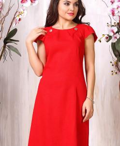 Платье 935. Красный. Лен